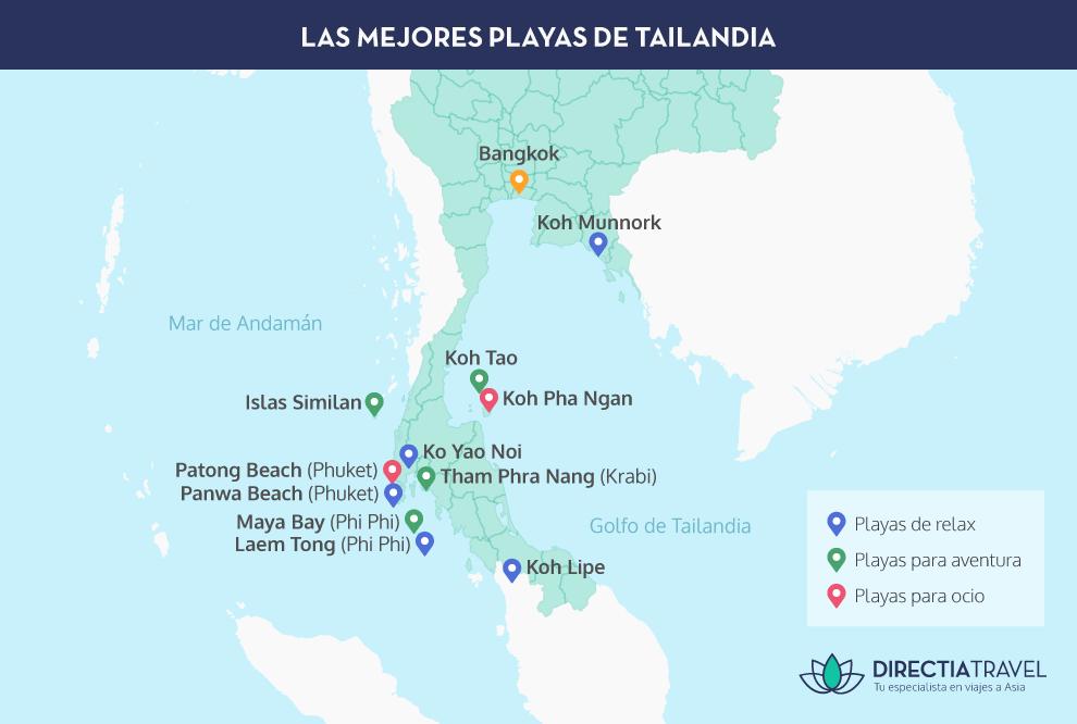 Islas De Tailandia Mapa.Las Mejores Playas De Tailandia 2019 Directia Travel