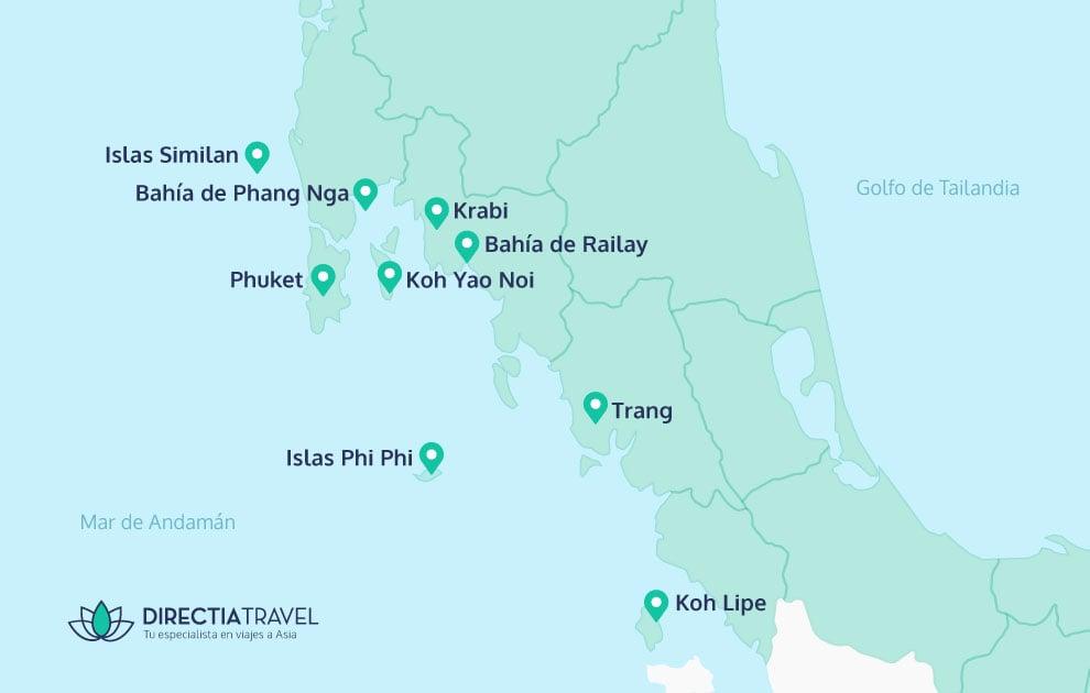 Islas De Tailandia Mapa.Playas De Tailandia La Guia Definitiva 2019 Directia Travel